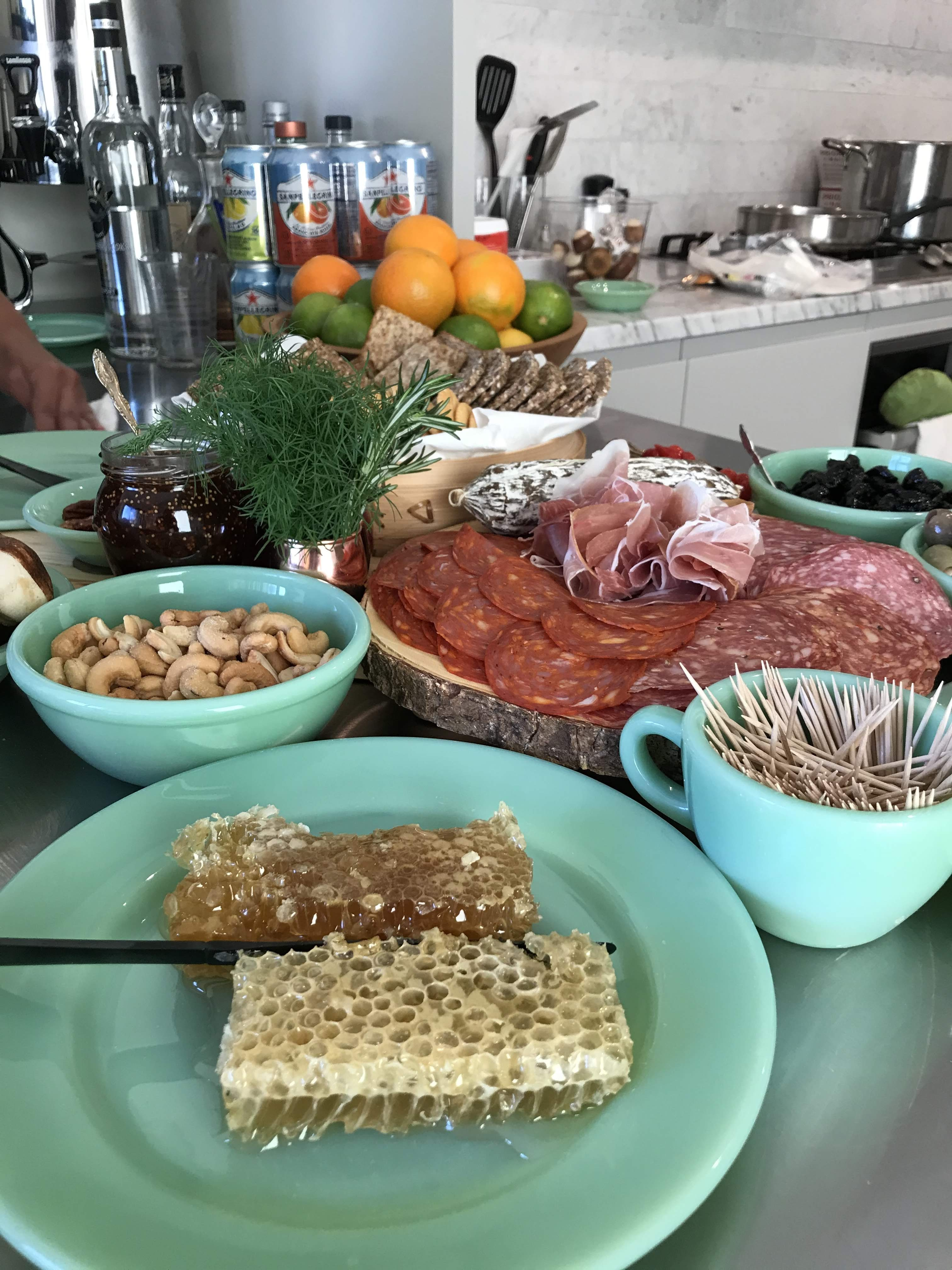 Table hors d'oeuvres with Honeycomb
